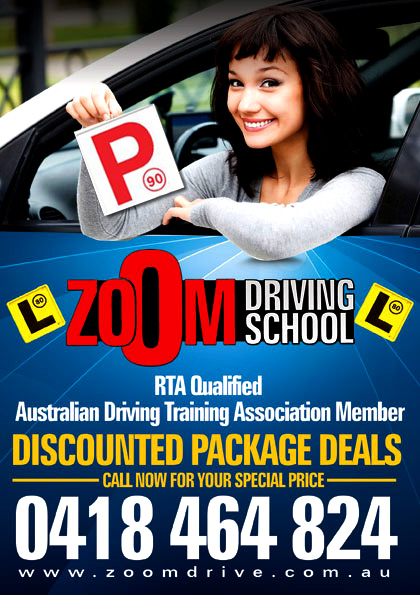 Zoom driving school special packages for cheap driving lessons in Penrith, Glenmore park, Windsor NSW, Richmond NSW, Springwood